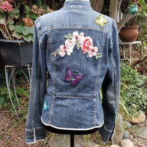Gap Stretch Denim Jacket w/ Flowers & Butterflies